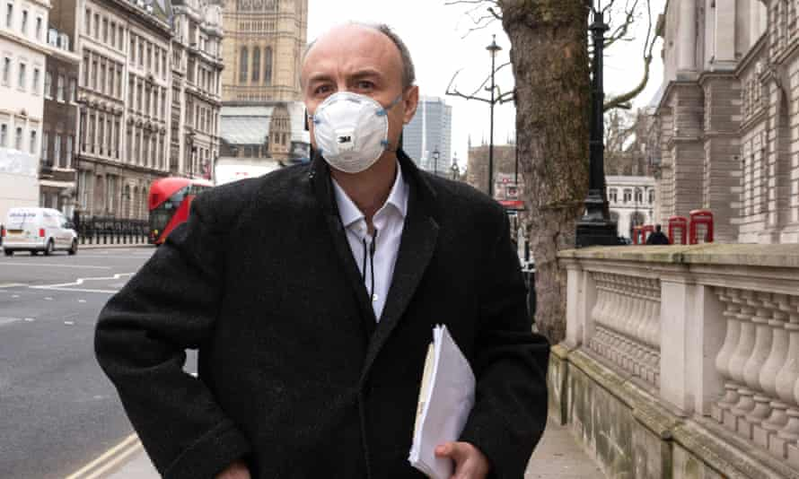 Dominic Cummings leaves a science select committee hearing into the pandemic last month