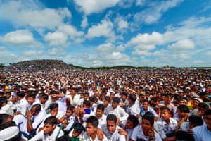 Rohingya refugees at the Kuptalong refugee camp near Cox's Bazar at a ceremony to remember crackdown that forced exodus from Myanmar