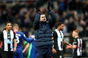 Chelsea boss Frank Lampard applauds the travelling fans.