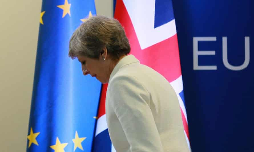 Theresa May at the European council in Brussels, June 2017.