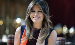 First lady Melania Trump stepped away from her husband's criticism of NBA star LeBron James to compliment his work on behalf of children and even offer to visit his school for at-risk children.