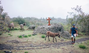 After a walk of more than three hours, Cyril finally reaches the plateau overlooking Marla. He is welcomed by the donkeys that graze the grass around the small chapel of the village.