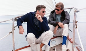 President Kennedy and his brother-in-law Peter Lawford aboard the US Coast Guard yacht Manitou.
