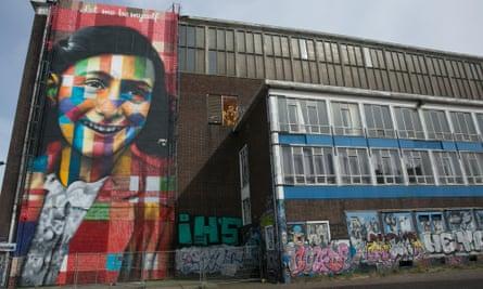Anne Frank mural, Amsterdam.