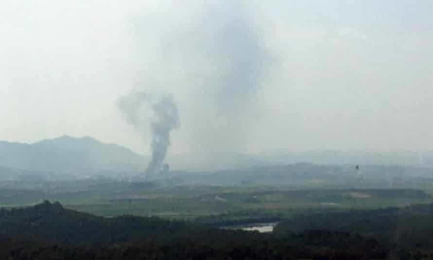 Smoke rises in the North Korean border town of Kaesong.