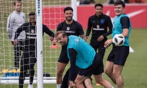 Harry Kane takes part in an England training session at St George's Park on Monday.