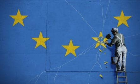 Part of a Banksy mural in Dover showing a star being chiselled from the European flag
