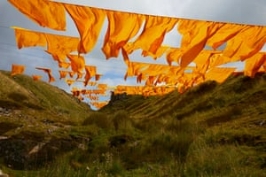 Newbiggin, England  'Hush', an artwork created by landscape artist Steve Messam, made from hundreds of saffron yellow sails, is installed in the North Pennines