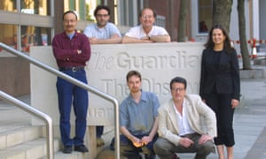 The Guardian Weekly team, outside 119 Farringdon Road, from left, Pushpinder Khaneka; Andrew Dick; Craig MacKie; Patrick Ensor; Jim Falzarano and Claire Daly