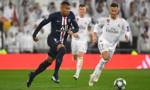 PSG's Kylian Mbappé takes on Real Madrid's Eden Hazard in the Champions League.