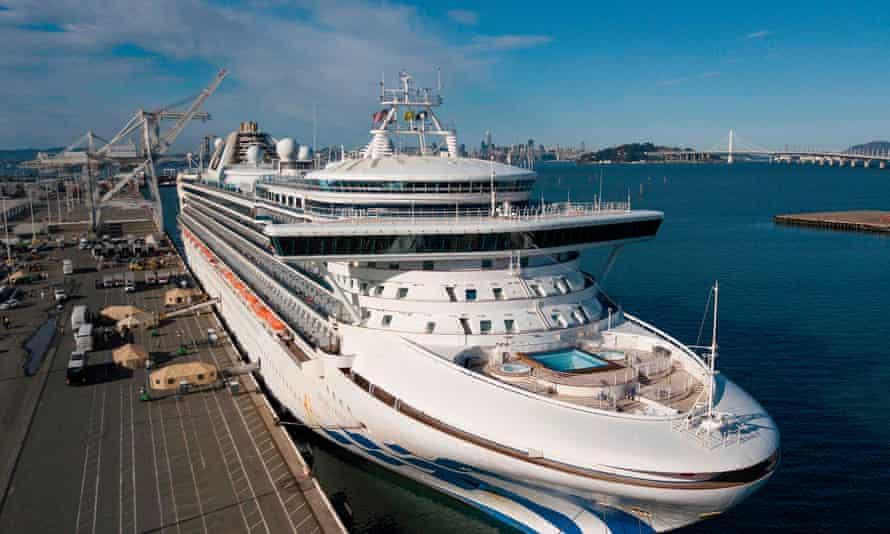 The Grand Princess, docked at Oakland, California