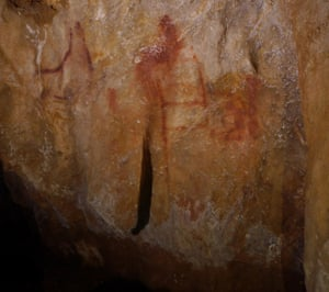 Neanderthal paintings are seen in a cave in Pasiega, Spain in this photo obtained February 21, 2018.