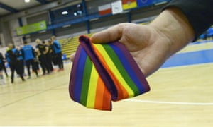 The banned captain''s armband is pictured at the AWF arena in Wroclaw, Poland