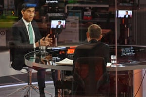 London, UK. The chancellor Rishi Sunak speaks to journalist Andrew Marr ahead of his 3 March budget