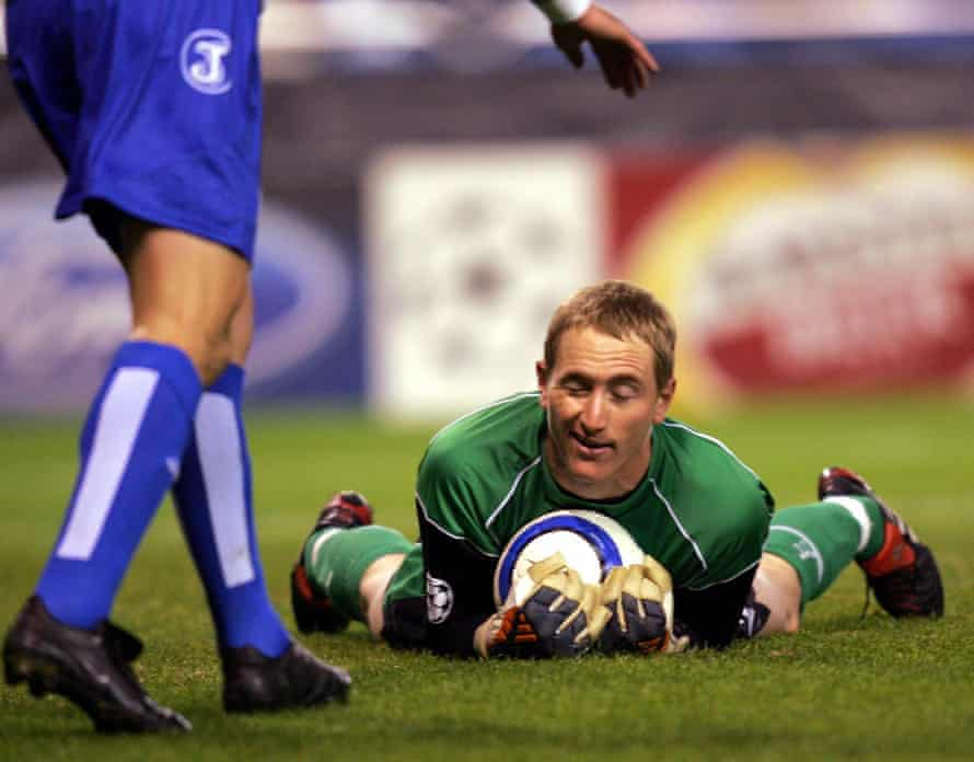 Chris Kirkland in action for Liverpool at Deportivo La Coruña in the Champions League