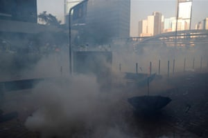 Tear gas floats in the air.