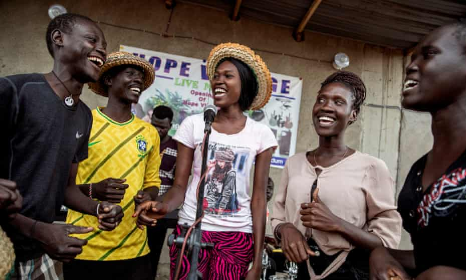 Future Star theatre and music group during a concert at Hope Village, a new venue in Juba