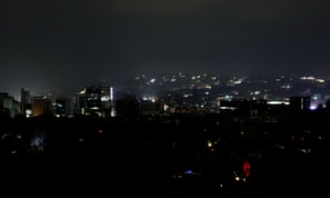 Caracas during the blackout. Venezuela's vice-president said the outage was 'an act of electric sabotage by the extreme right opposition'.