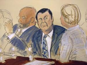 In this courtroom sketch, Guzmán, center, listens in court.