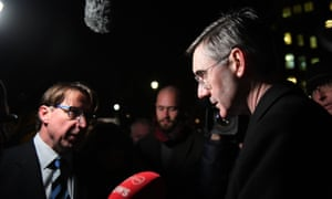 Jacob Rees-Mogg speaks to the media after the results of the vote were announced.