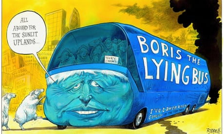 All aboard Boris Johnson's lying bus – cartoon