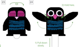 Chris Haughten's paper owl, which can be downloaded and folded as a craft activity for children