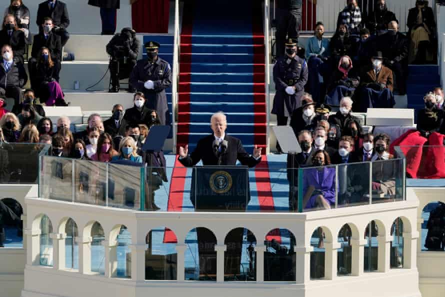 Biden described a nation capable of overcoming daunting odds and seemingly incontrovertible divisions.
