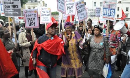 Striking back ... protesters outside Royal London hospital.