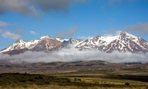 Clouds drift over the eastern slopes of Mount Ruapehu in Tongariro National Park, Tangiwai, New Zealand.