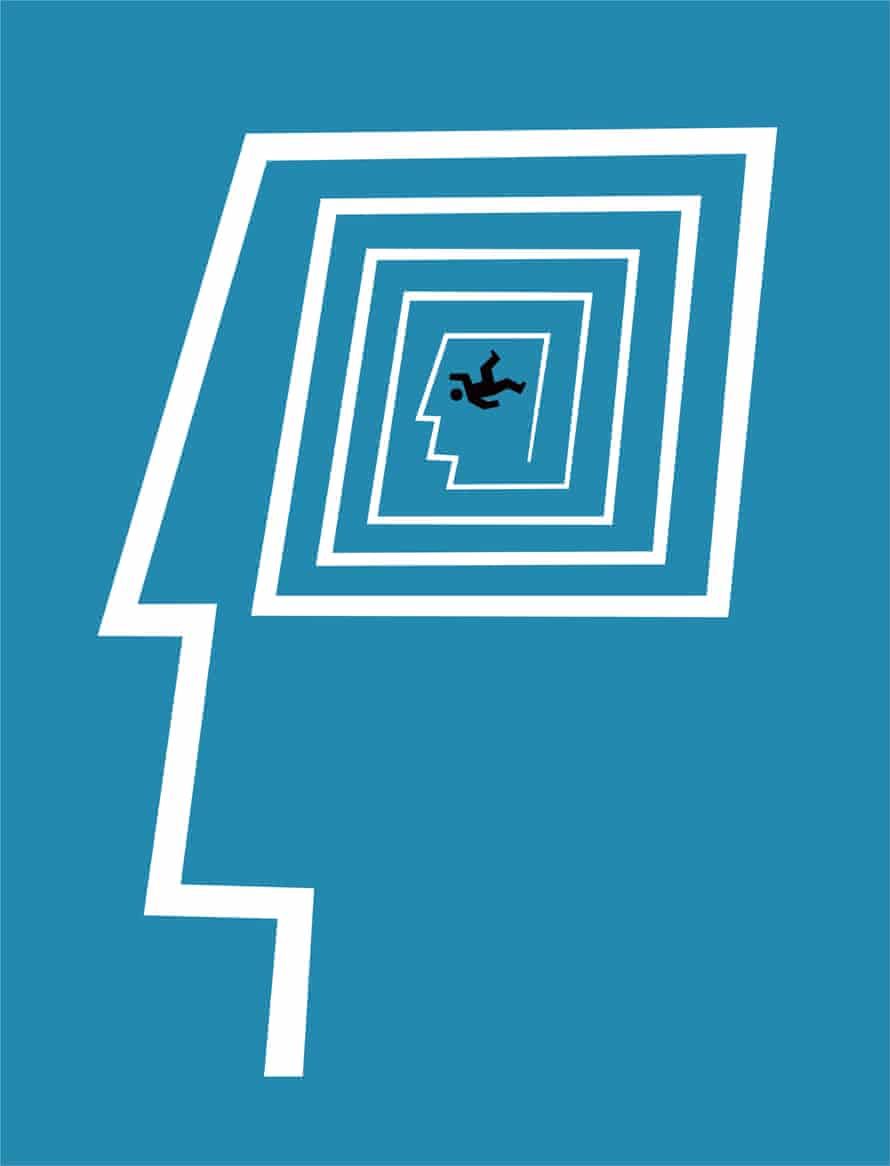 A white line drawing on a blue background of a face and a decreasing square for the head with a stick figure man falling right in the centre