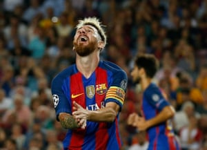 Lionel Messi reacts after his miss.