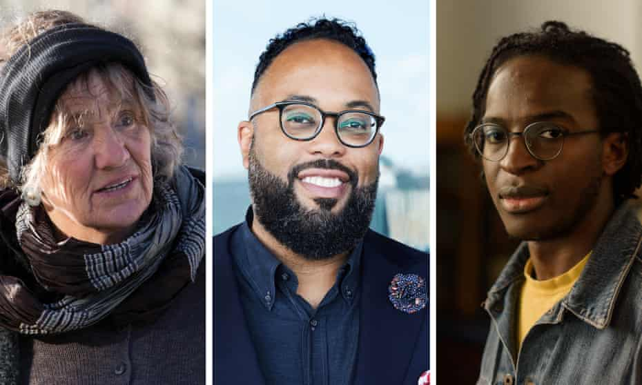 (from left) shortlisted poets Selima Hill, Kevin Young and Kayo Chingonyi.