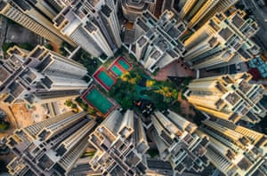 Aerial view, taken from a drone camera, of Hong Kong.