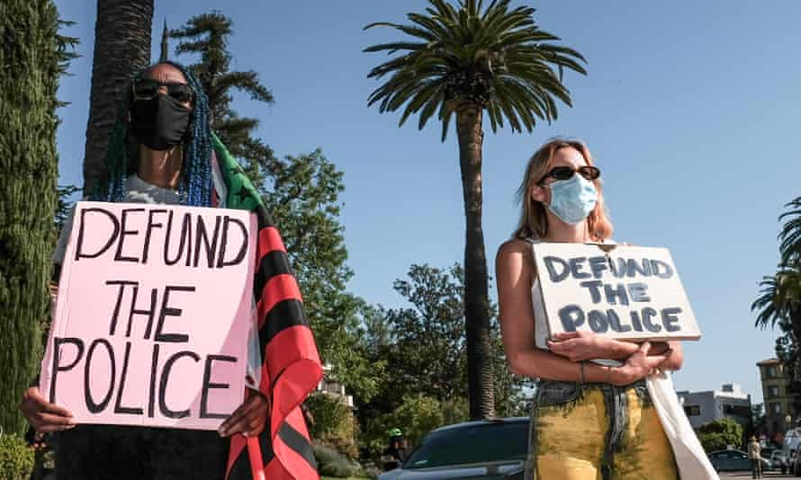 Protesters meet outside Los Angeles mayor Eric Garcetti's home on 20 April.