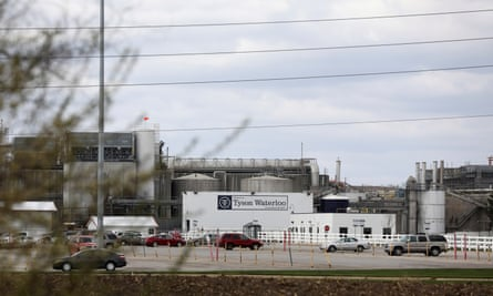 The Tyson Foods pork processing plant in Waterloo, Iowa. Many workers at American meat plants have fallen ill with coronavirus.