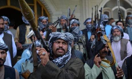 Afghan militia with their weapons