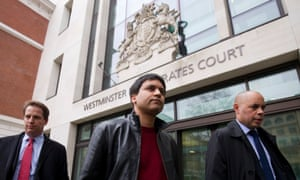 Financial trader Navinder Singh Sarao (centre) leaves Westminster magistrates court in central London.