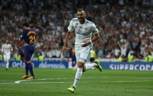 Karim Benzema wheels away in celebration after scoring Real Madrid's second.