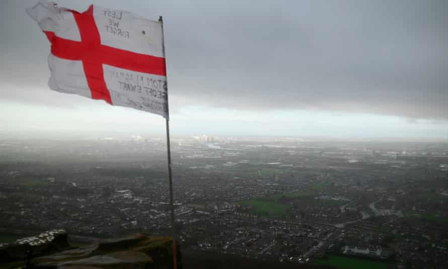 The flag of St George on Eston Nab, near Middlesbrough, on 1 January 2021.