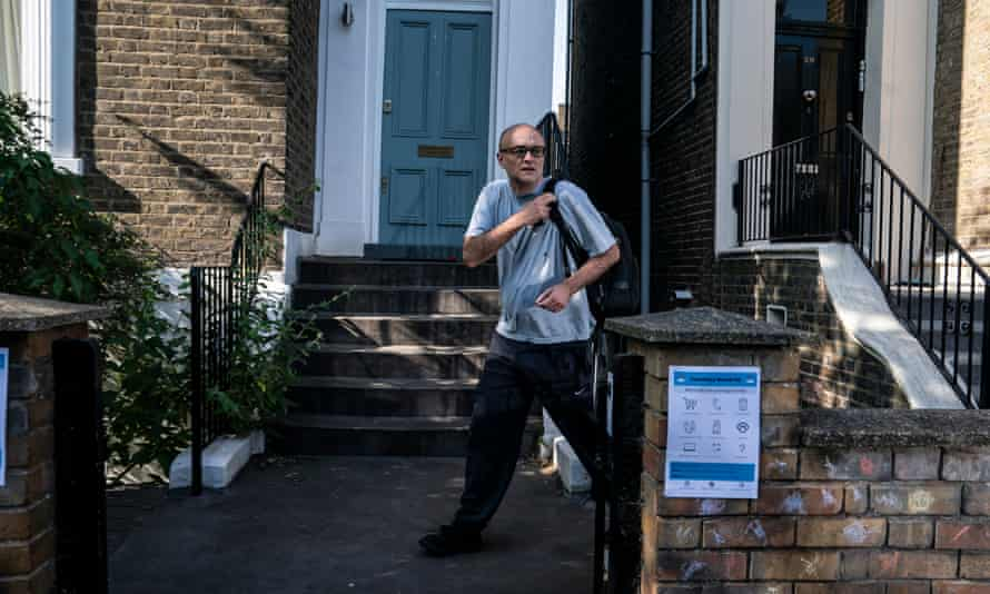 Dominic Cummings leaving his home today. In a YouGov poll, 59% of respondents said he should resign.