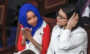 Ilhan Omar and Rashida Tlaib at the Capitol in Washington DC, on 5 Feburary.