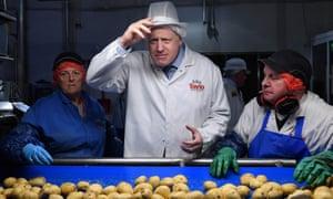 Boris Johnson at the Tayto crisp factory in County Armagh.