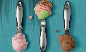 three ice cream scoops in a row