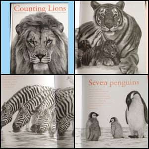 "<a href=""https://bookshop.theguardian.com/catalog/product/view/id/338814/""><strong>Counting Lions by Katie Cotton and Stephen Walton</strong></a><br><a href=""https://witness.theguardian.com/assignment/56334050e4b0aceae193b8f8?page=3"">Reviewed by Repa, Amirah (5) and Ibrahim (3)</a><br>This book was absolutely beautiful. The illustrations are breathtaking and takes nature back to its natural form. It's not your average story book, each page takes each animal and has a brief description of what they do. It was also good that at the end of the book it went through which animals are at most risk of being endangered/extinct as it made both Amirah and Ibrahim ask questions about why this was the case so it got them thinking about the wider picture."