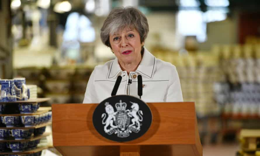 Theresa May making a speech during a visit to the Portmeirion pottery factory in Stoke-on-Trent on Monday