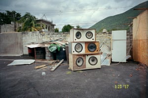 Sound System, 2017An old sound system outside a friend's house in Kingston. It is being 'laid to rest', says Wigan. 'Every Jamaican community has a sound system like that. And, on Fridays, as people come off work, they'll have some drinks and everyone will dance'