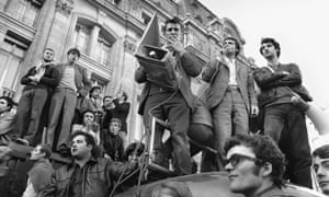 Students' and workers' leaders at a protest in Paris in May 1968