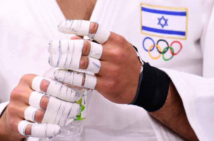 Israel's Tohar Butbul preparing for a bout at the Tokyo Games.