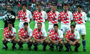 The Croatia players line up before their first match at the 1998 World Cup