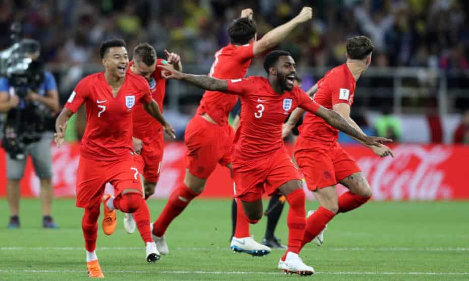 England players show their elation after beating Colombia 4-3 on penalties in their World Cup last-16 penalty shootout at the Spartak Stadium in Moscow.
